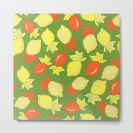 Tumbled Lemons Pattern Metal Print