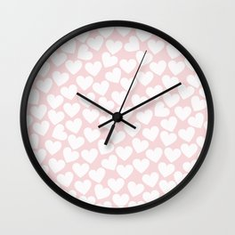Pink & White - Valentine Love Heart Pattern - Mix & Match with Simplicty of life Wall Clock