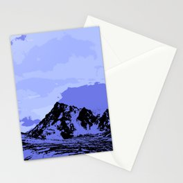 Chugach Mountains - Blue Pop Art Stationery Cards