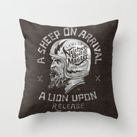 atheist Throw Pillows featuring A sheep on arrival /Helmet by bmddesign.fr