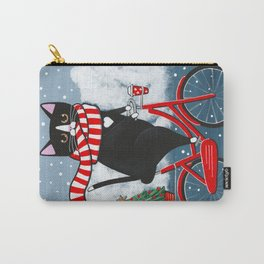 Winter Tuxedo Cat Bicycle Ride Carry-All Pouch