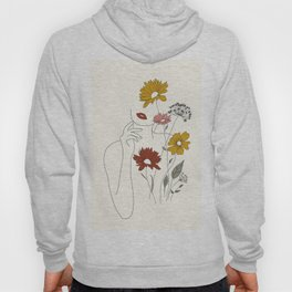 Colorful Thoughts Minimal Line Art Woman with Flowers III Hoody