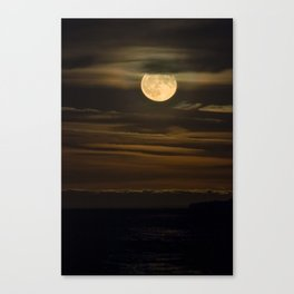 An HDR Close Up on the Moon Rising over Lake Superior Canvas Print
