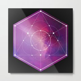 Sacred Geometry Flower Of Life Galaxy  Metal Print