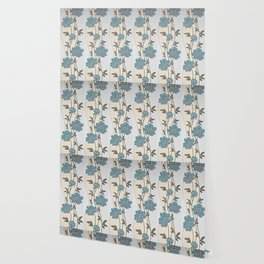 Greenish Blue Flower Garland Wallpaper