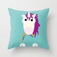 Minimal Unicorn Blue Throw Pillow
