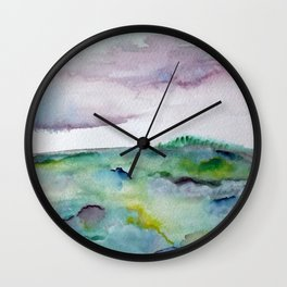 """""""337"""" abstract watercolor landscape Wall Clock"""