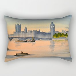 Westminster And Big Ben From The River Thames London Rectangular Pillow