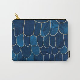 Stratosphere Sapphire // Abstract Blue Flowing Gradient Gold Foil Cloud Lining Water Color Decor Carry-All Pouch