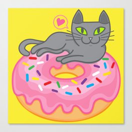 My cat loves donuts. Meow!!! Canvas Print