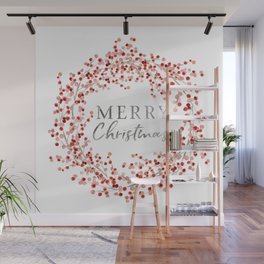 Merry Christmas wreath. Red berry Wall Mural