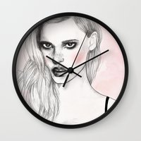 lara croft Wall Clocks featuring Lara by Katie Jagielnicka