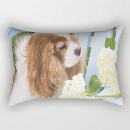 Cavalier King Charles With Hydrangeas Rectangular Pillow