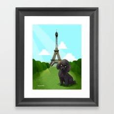 Poodle in Paris Framed Art Print