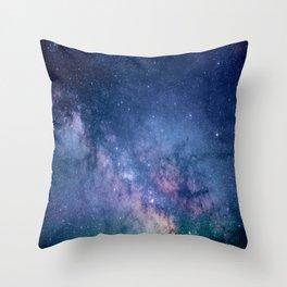 purple blue universe night sky stars galaxy Throw Pillow
