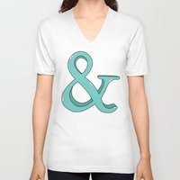 ampersand V-neck T-shirts featuring Ampersand by Chelsea Herrick