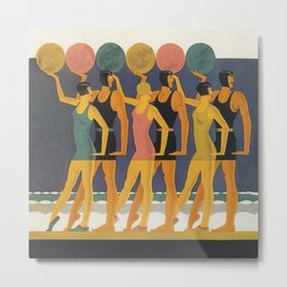Art Deco Swimwear and Beach Balls Vintage Poster Metal Print