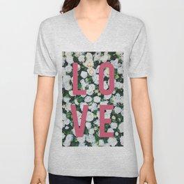 LOVE White Rose Floral Poster Unisex V-Neck