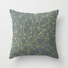 Ab Lines Gold and Navy Throw Pillow