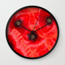 Wild poppies pattern Wall Clock