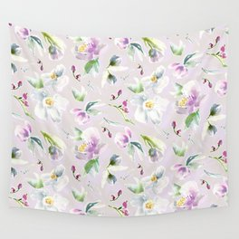 Pastel Floral in Cassia Purple and Blush Wall Tapestry