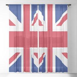 red white and blue trendy london fashion UK flag union jack Sheer Curtain