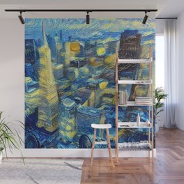 """Gogh's Town by night"" Wall Mural"
