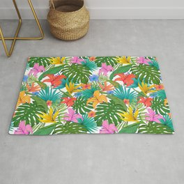 Tropical Colorful Palm Garden Rug
