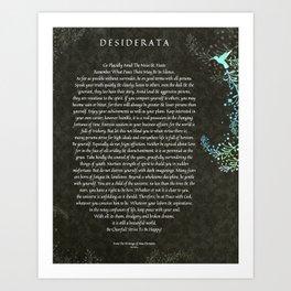 Desiderata Poem on Black Chalk Board Damask with Blue Hummingbird Art Print