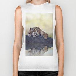 Bengal tiger resting on a rock near pond Biker Tank