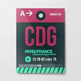 CDG Paris Luggage Tag 1 Metal Print