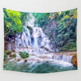 Digital Painting - Kuang Si Falls Wall Tapestry