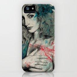 SGNL>05 (seminude street art portrait, topless lady with swan tattoo) iPhone Case