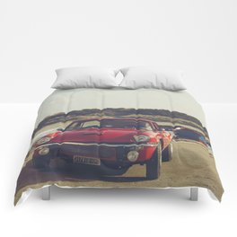 Triumph Spitfire by the sea, with ship, fine art photo, british car, sports car, color, high definit Comforters