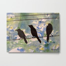 Three Birds on the Line Metal Print