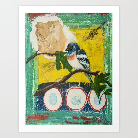 Lazuli Bunting Daddy's Gone A Hunting Art Print