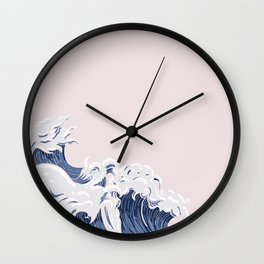 Ocean Wave on Pink Wall Clock