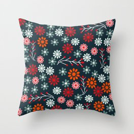 Spring wildflowers at midnight Throw Pillow