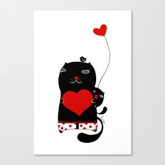 Cats with hearts Canvas Print