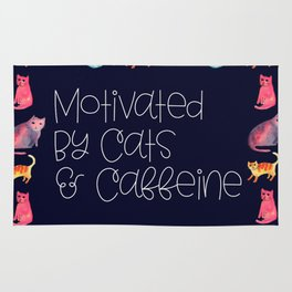 Motivated by Cats and Caffeine Rug