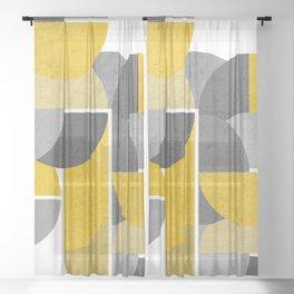 Modern Yellow And Gray Geometric 3 Sheer Curtain