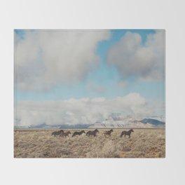 Running Reservation Horses Throw Blanket