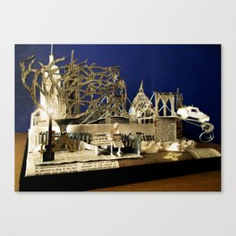 Reading the Newspaper in the Park | Sculpture Photo Canvas Print