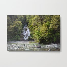 Fantail Falls in New Zealand - Spring View Metal Print