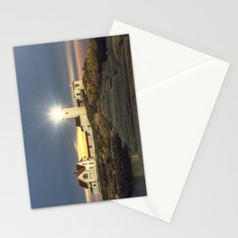 Full moon rising over Eastern point Lighthouse #2 Stationery Cards
