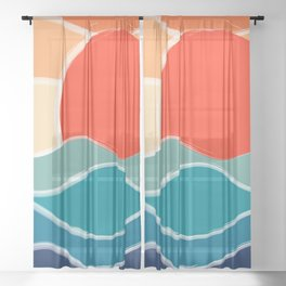 Retro 70s and 80s Color Palette Mid-Century Minimalist Nature Waves and Sun Abstract Art Sheer Curtain
