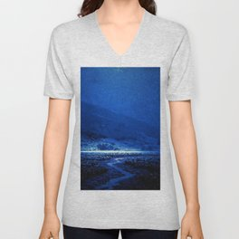 Twilight Blue Moon below the Mountains & Enchanted Valley landscape painting by Granville Redmond Unisex V-Neck