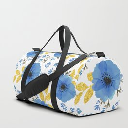 Blue flowers with golden leaves Duffle Bag