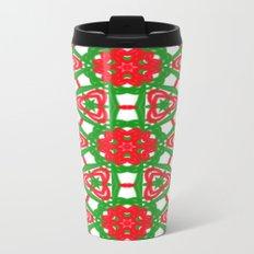 Red, Green and White Kaleidoscope 3372 Metal Travel Mug