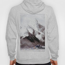 Panoramic View Of Everest Mountain Painting Hoody